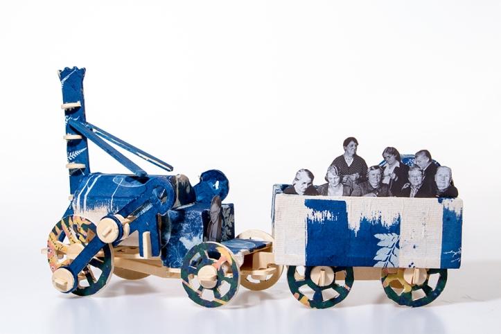 Handmade wooden stephensons rocket locomotion in blue cyanotype print by the artist Jo Howell